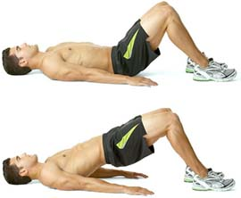 при выполнении упражнения для потенции с поднятием и опусканием таза мужчине нужно умеренно увеличивать нагрузки